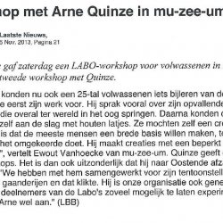 Workshop met Arne Quinze in mu-zee-um